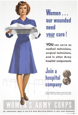 Women's Army Corps WWII War Propaganda Art Print Poster