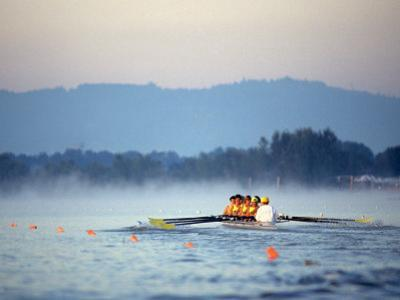 Women's Eights Rowing Team in Action, Vancouver Lake, Washington, USA