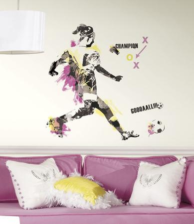 Women's Soccer Champion Peel and Stick Giant Wall Decal