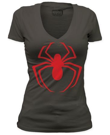 Women's: Spiderman - Red Logo (Deep V)