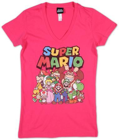 Women's: Super Mario- Group Shot V-neck
