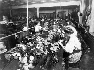 Women Sewing Teddy Bears in a Factory, C.1915
