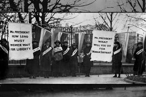 Women Suffragists Picketing in Front of White House Plastic Sign