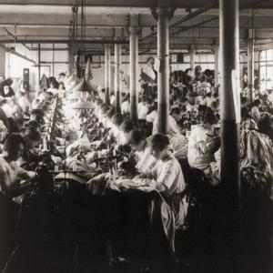 Women Working at Sewing Machines in Factory in Leicester, England, 1923