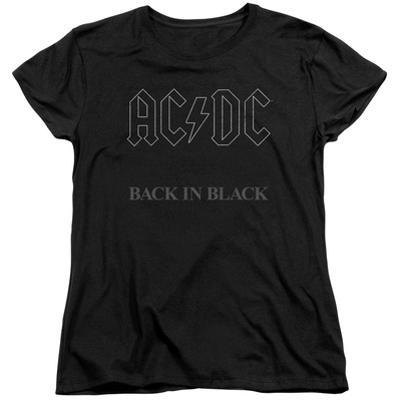 Womens: AC/DC- Back In Black Grey Block Logo