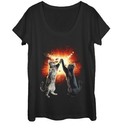 Womens: Cosmic Cats Paws Scoop Neck