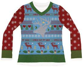 4d430dff Womens Long Sleeve: Check Out My Rack Ugly Xmas Sweater Costume Tee