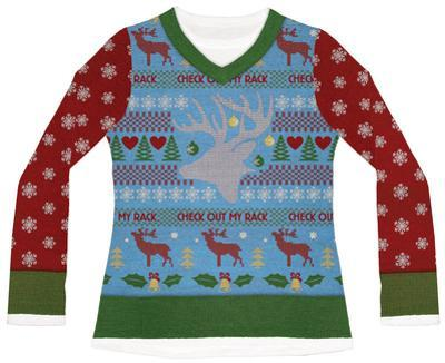 Womens Long Sleeve: Check Out My Rack Ugly Xmas Sweater Costume Tee
