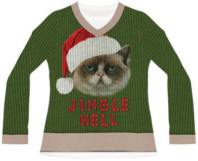 Womens Long Sleeve: Jingle Hell Cat Ugly Xmas Sweater Tee