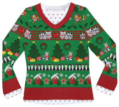 Womens Long Sleeve: Ugly Xmas Sweater with Cats Costume Tee