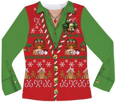 Womens Long Sleeve: Ugly Xmas Vest Costume Tee