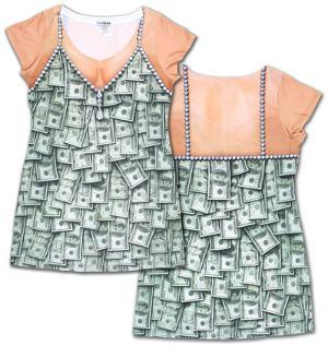 Womens: Sugar Mama Money Dress Costume Tee (Front/Back)