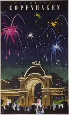 Wonderful Copenhagen, Tivoli Garden Travel Poster