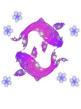 Asia Purple Floral Koi Fish by Wonderful Dream
