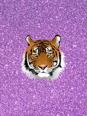 Tiger Cat With Purple Glitter by Wonderful Dream