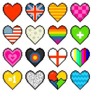 8-Bit Assorted Pixel Hearts by wongstock