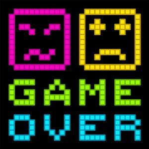 8-Bit Pixel-Art Retro Arcade Game over Message. Eps8 Vector by wongstock