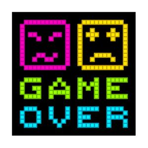 8-Bit Pixel-Art Retro Arcade Game over Message. Eps8 Vector by wongstock
