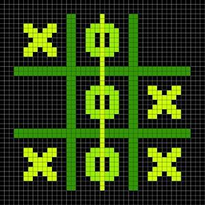 8-Bit Pixel Art Tic Tac Toe Game - Winning Position by wongstock