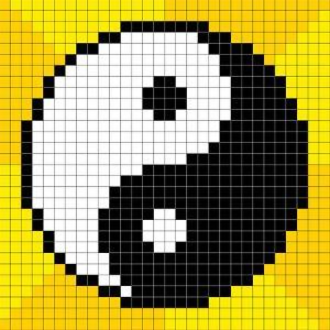 8-Bit Pixel-Art Yin Yang Symbol by wongstock