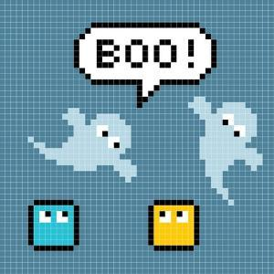 8-Bit Pixel Ghosts Say Boo by wongstock