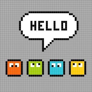 8-Bit Pxiel Characters Say Hello by wongstock
