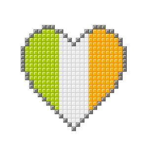 Pixel Block Irish Love Heart by wongstock