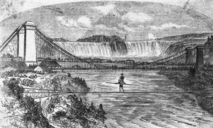 Woodcut Illustration of Charles Blondin Crossing Niagara River on Tightrope