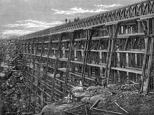 Wooden Trestle Bridge on the Union Pacific Railroad, Dale Creek, Wyoming, USA, 1869