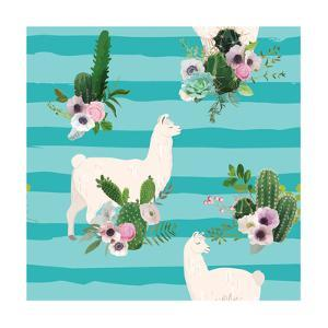 Llama and Cactus Pattern by woodhouse