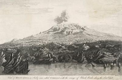 View of Mount Etna in Sicily Now Called Gibello with the Range of Black Rocks Along the Sea Coast