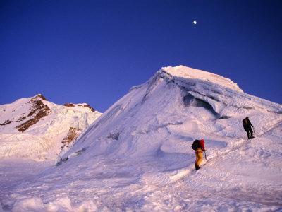 Mountaineers Climbing Ridge on Mountain, Huayna Potosi, Bolivia