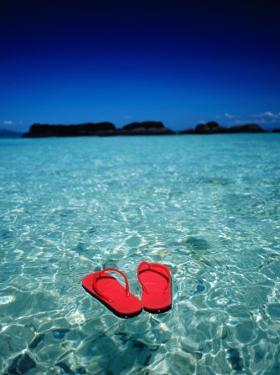 Red Thongs Floating on Sea off Ko Kham, Thailand by Woods Wheatcroft