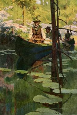 Woodsmen in Canoes Floating on a Tranquil River, circa 1900