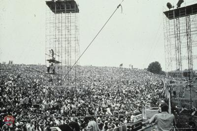 Woodstock- Crowd with Scaffolding (Black and White)