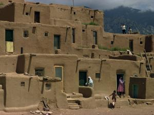 Adobe Buildings of Taos Pueblo, Dating from 1450, UNESCO World Heritage Site, New Mexico, USA by Woolfitt Adam