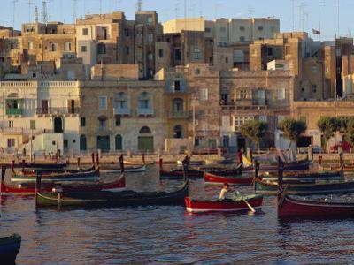 Boats Moored in Valletta Harbour at Dusk, Malta, Mediterranean, Europe