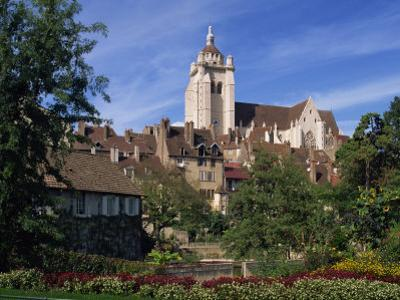 Gardens, Houses and the Cathedral of Dole in Franche-Comte, France, Europe