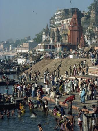 Ghats on the River Ganges, Varanasi, Uttar Pradesh State, India