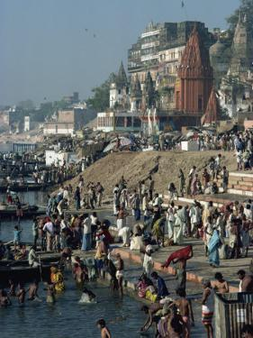 Ghats on the River Ganges, Varanasi, Uttar Pradesh State, India by Woolfitt Adam