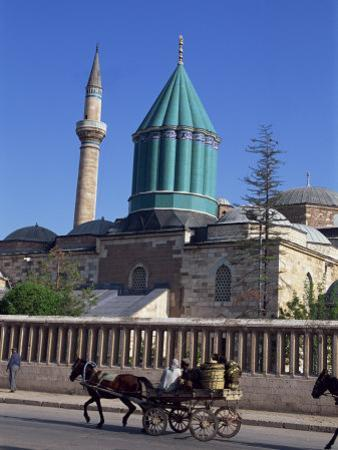 Horse and Cart Passes the Mevlana Tekke Museum, Konya, Anatolia, Turkey