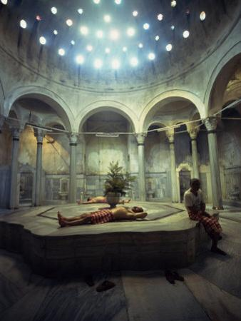 Men Relax in the Cagologlu Hamami, Turkish Bath, in Istanbul, Turkey, Europe