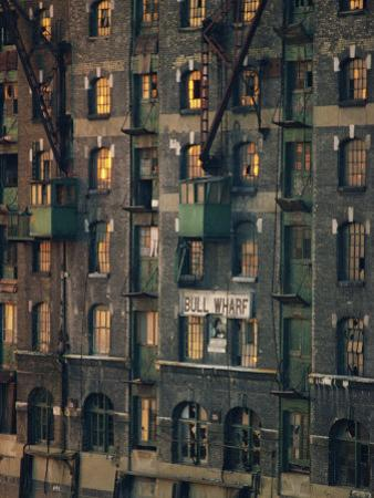 Old Wharf Building at Dusk, Docklands, London, England, United Kingdom, Europe