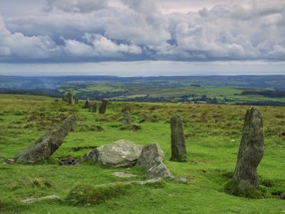 Stone Row at Stall Moor, Dartmoor National Park, Devon, England, United Kingdom, Europe