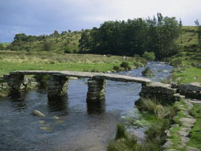 Traditional Clapper Bridge at Postbridge, Dartmoor, Devon, England, United Kingdom, Europe