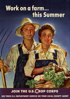 Work on a Farm This Summer Join the US Crops Corps WWII War Propaganda Art Print Poster