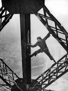 Worker Painting the Eiffel Tower