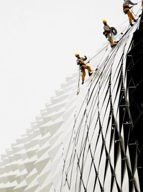 Workers Climb Down the Roof of Singapore's Spikey Fruit Shaped Esplanade Arts Center