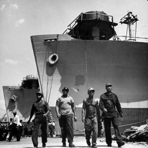 Workers Leaving the Sun Shipbuilding and Drydock Co. Shipyards