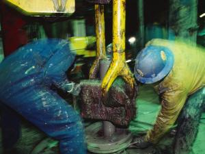 Workers on an Oil Rig Platform in the Northern Atlantic Ocean